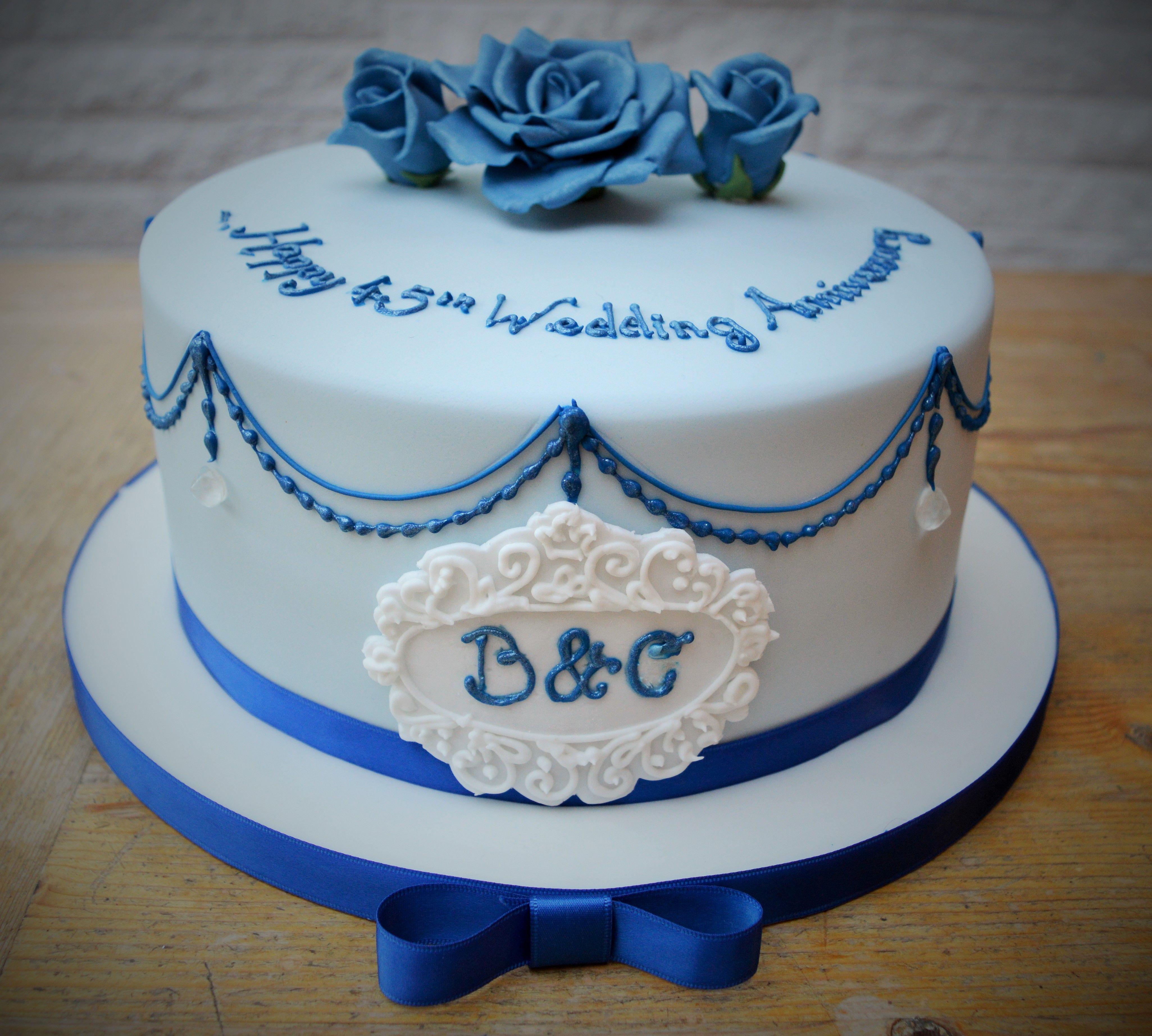 A ornate 45th Wedding Anniversary cake