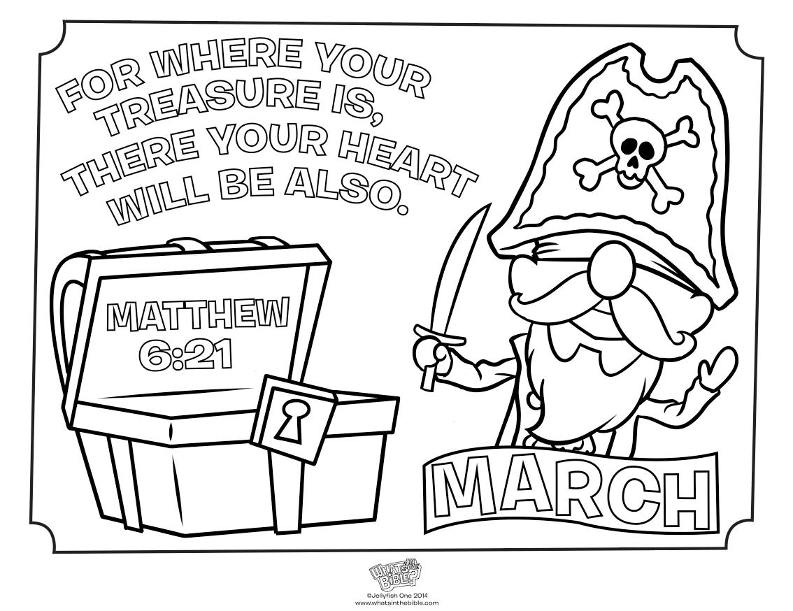 March Treasure Coloring Page