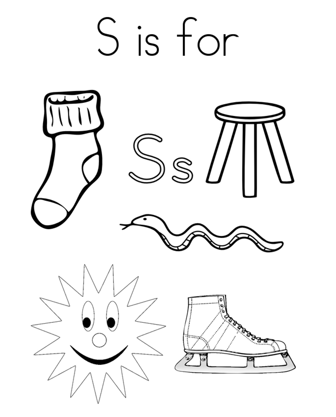 Words From S Alphabet Coloring Page