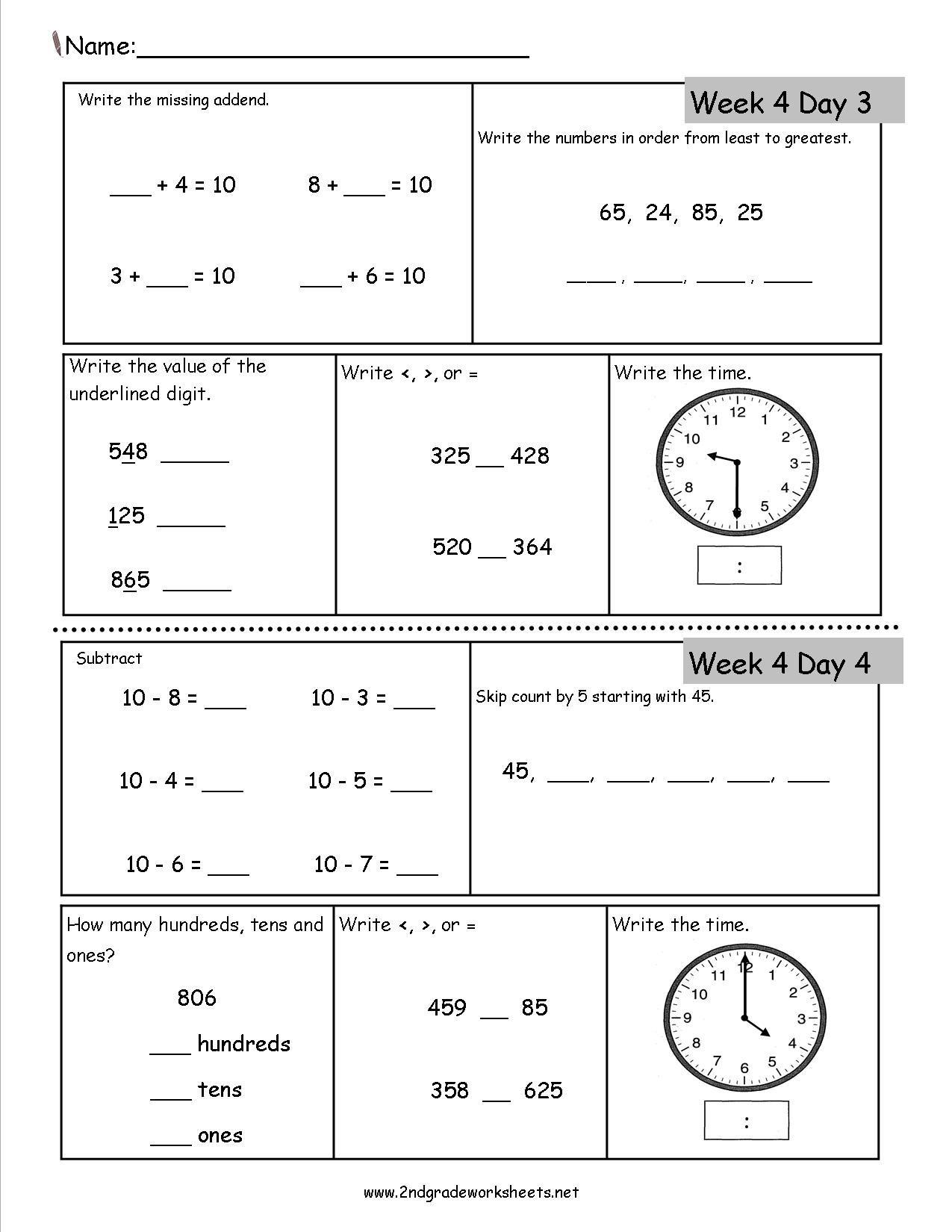 Daily 2nd Grade Math Worksheets