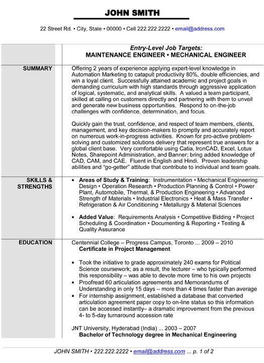 resume mechanical engineer sample download resume templates