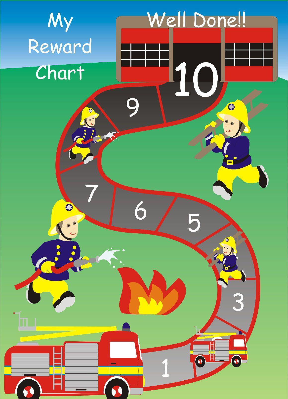 Fire truck reward sticker chart. Print and laminate