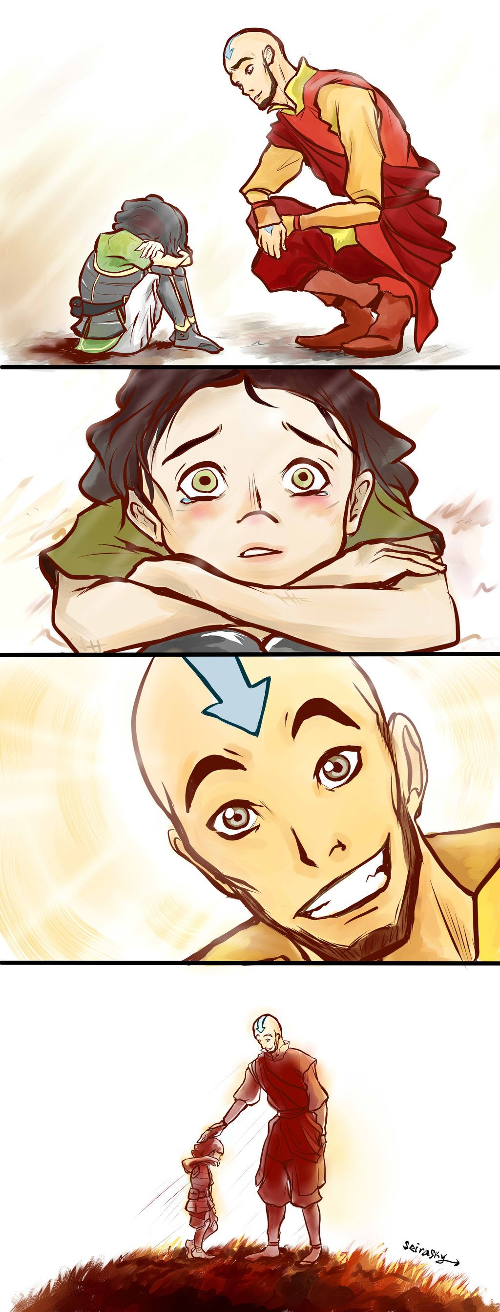Aww! Lin! Did Tenzin push you down and say girls were