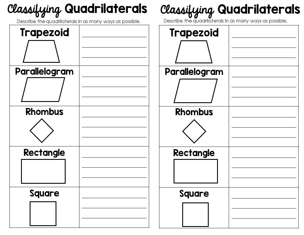 Triangles And Quadrilaterals Worksheet