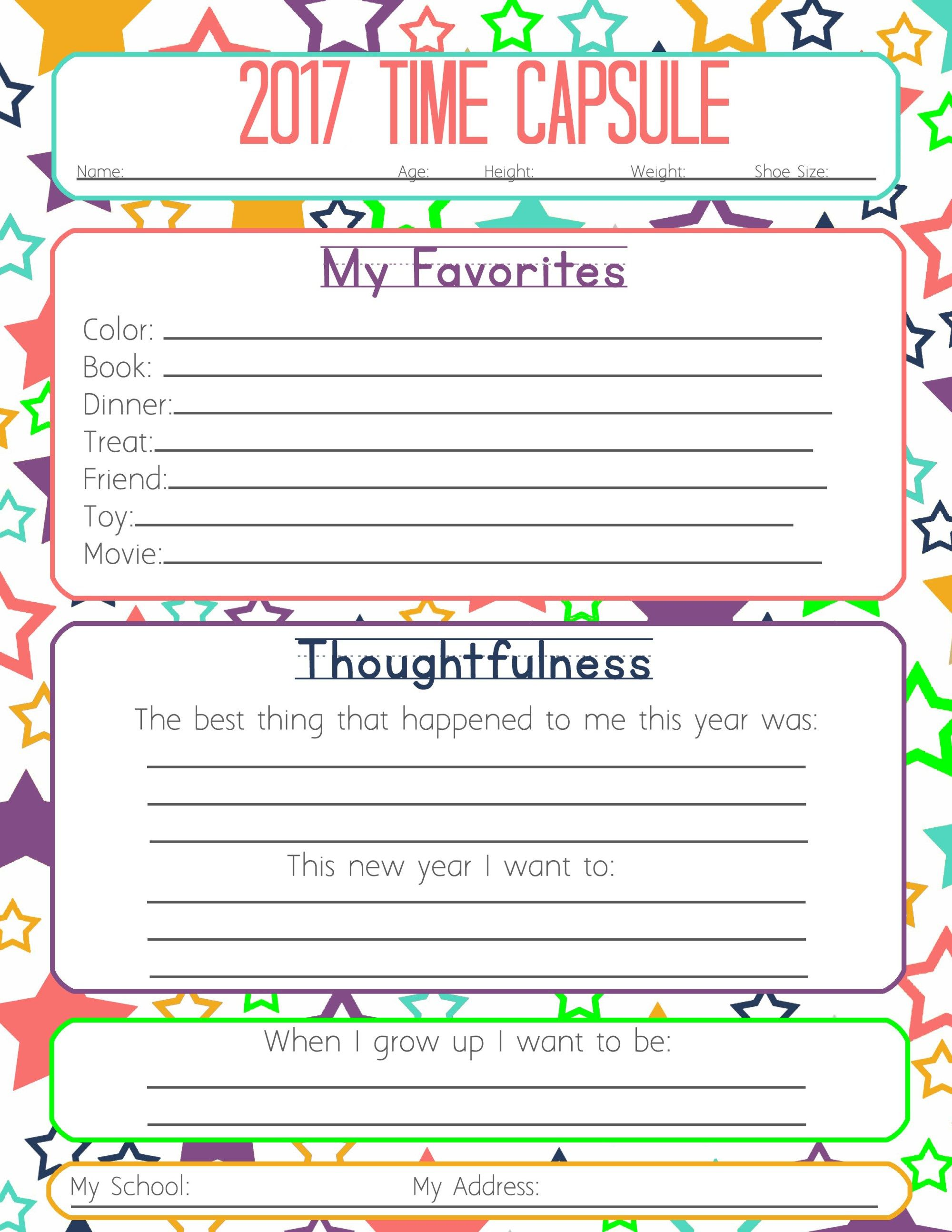 New Years Resolution & Time Capsule Worksheets and