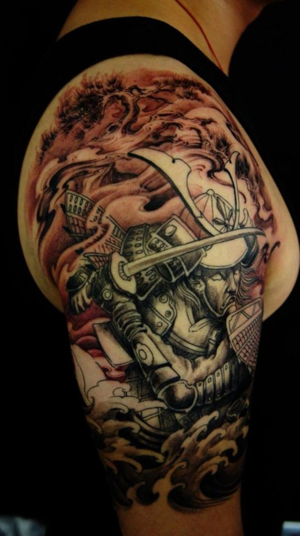 best samurai tattoo designs Samurai Lotus Half Sleeve