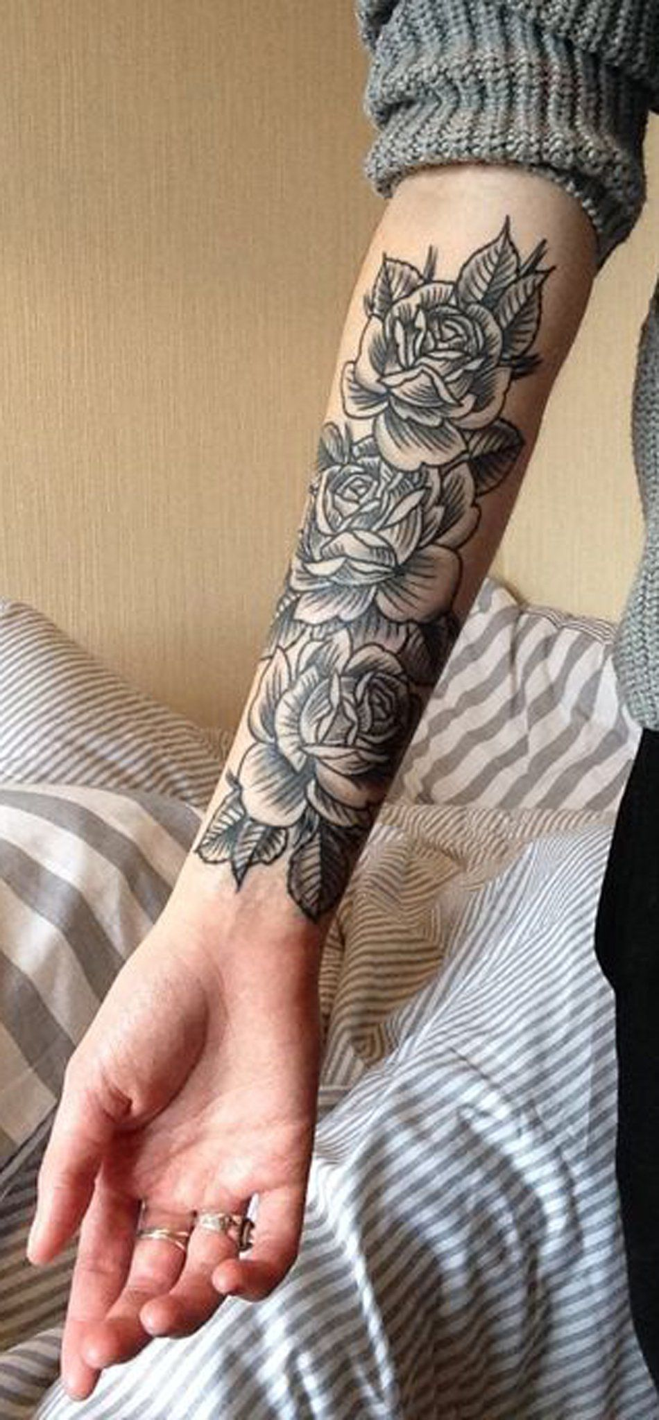 Black Rose Forearm Tattoo Ideas for Women Vintage