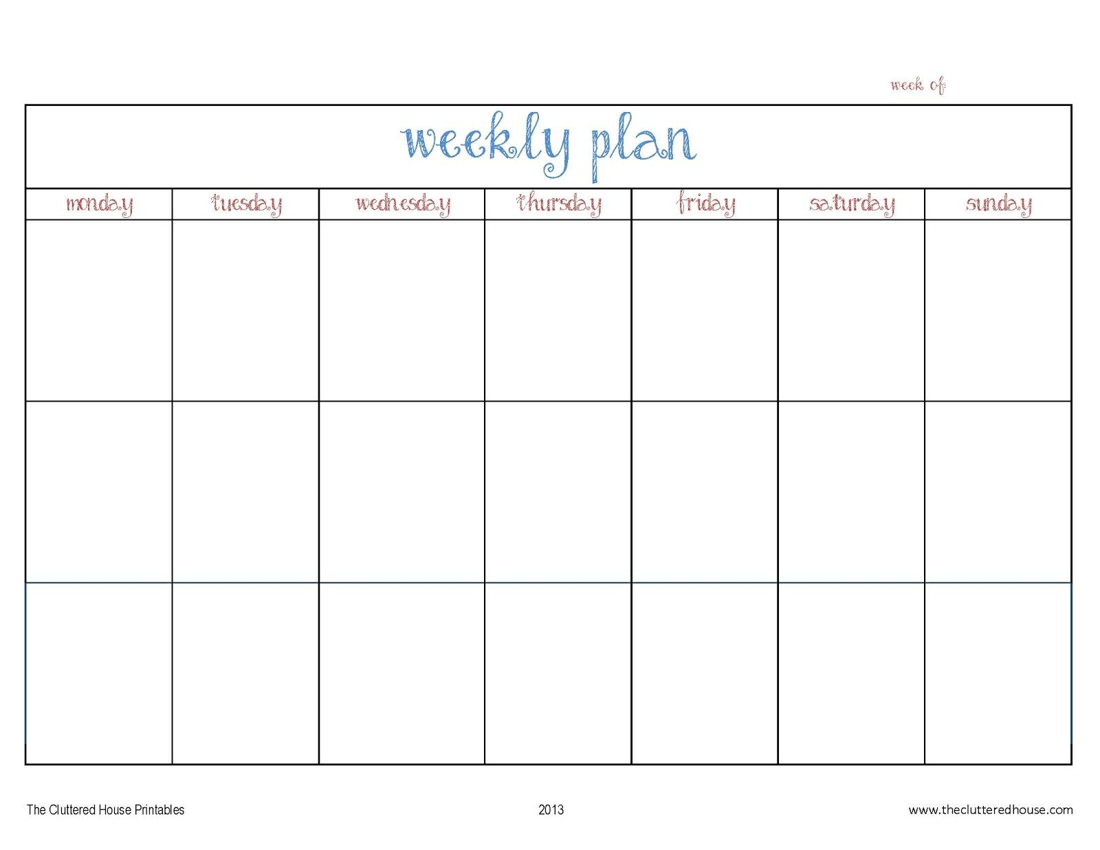 The Cluttered House Weekly Planner Printable
