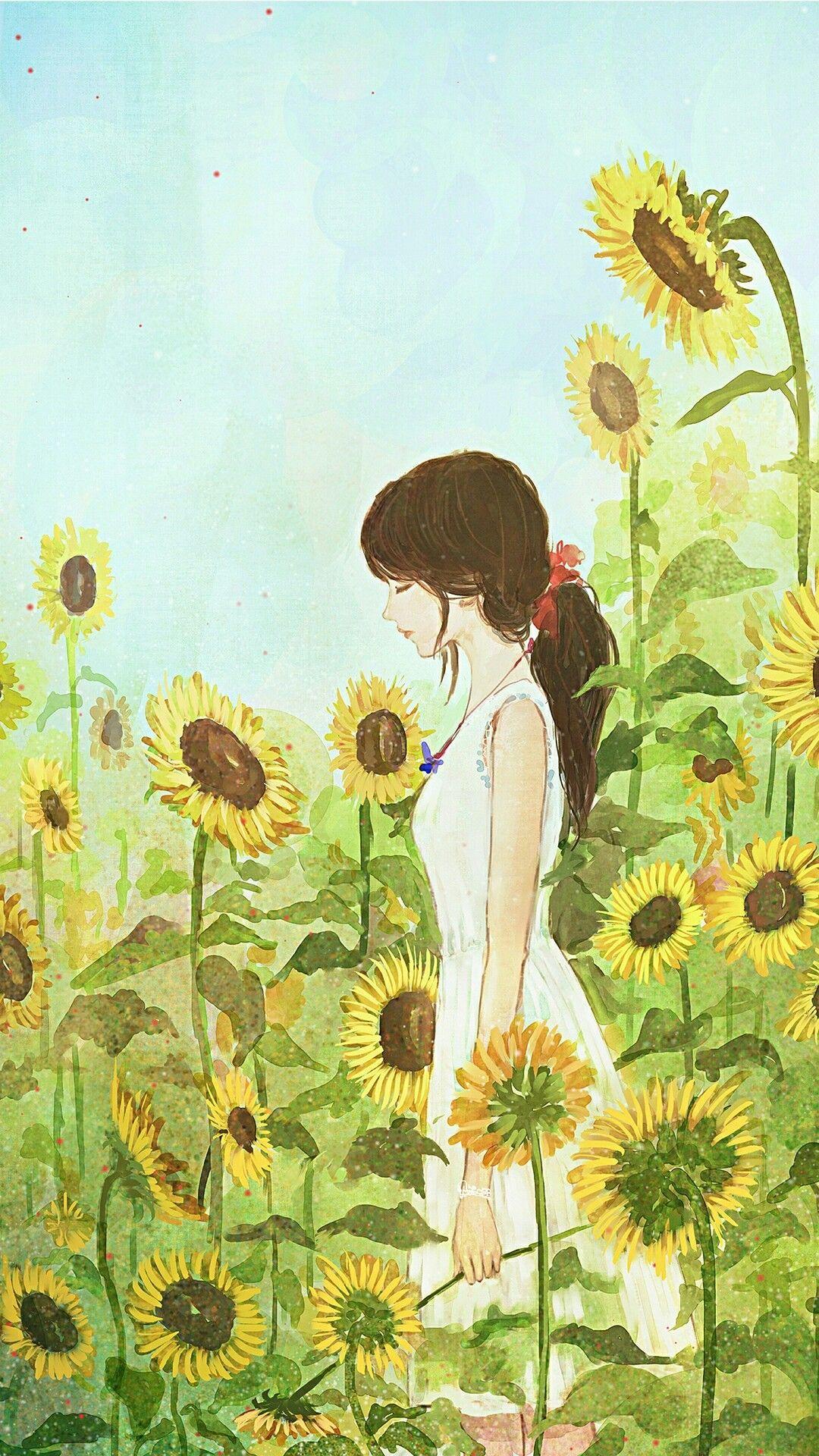 소녀 일러스트with sunflower 소녀 일러스트 Pinterest