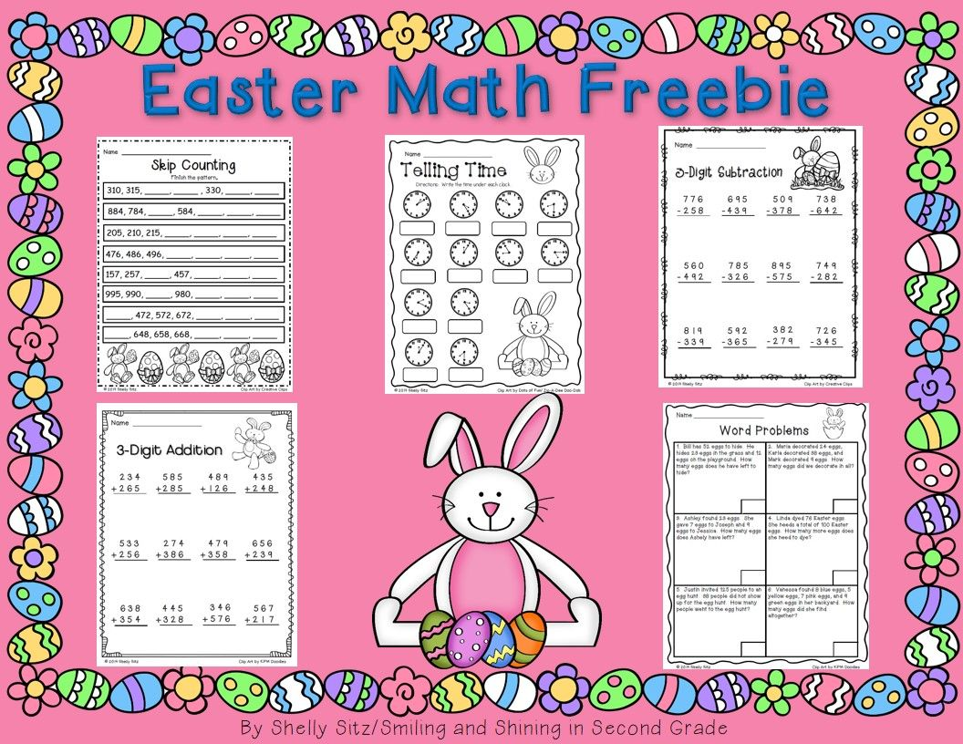 Easter Math Freebies For 2nd Grade Telling Time Skip Counting Word Problems And Addition And