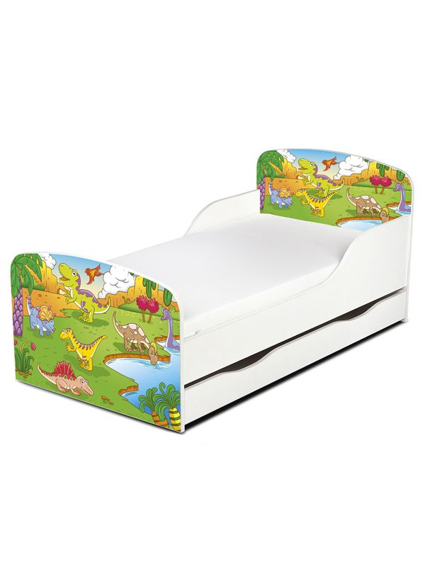 Dinosaur Toddler Bed With Under Storarge And Deluxe Foam Mattress Kids Bedroom