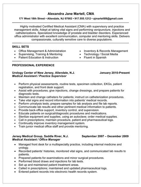 Medical Resumes. Examples Of Resumes For Medical Assistants