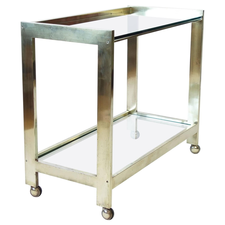 minimalist brass bar cart