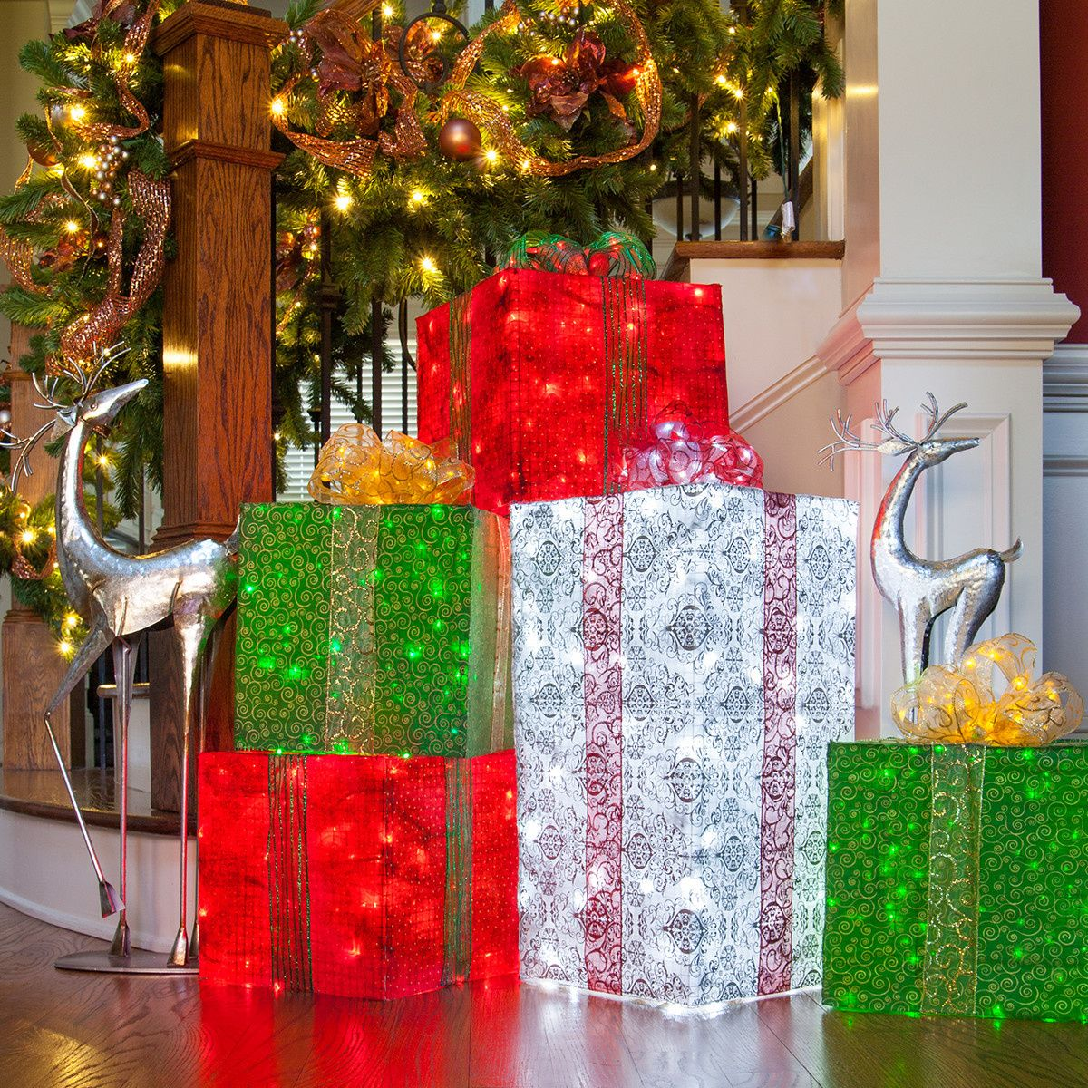 DIY Christmas Decorations 4 Lighted Gift Boxes Diy