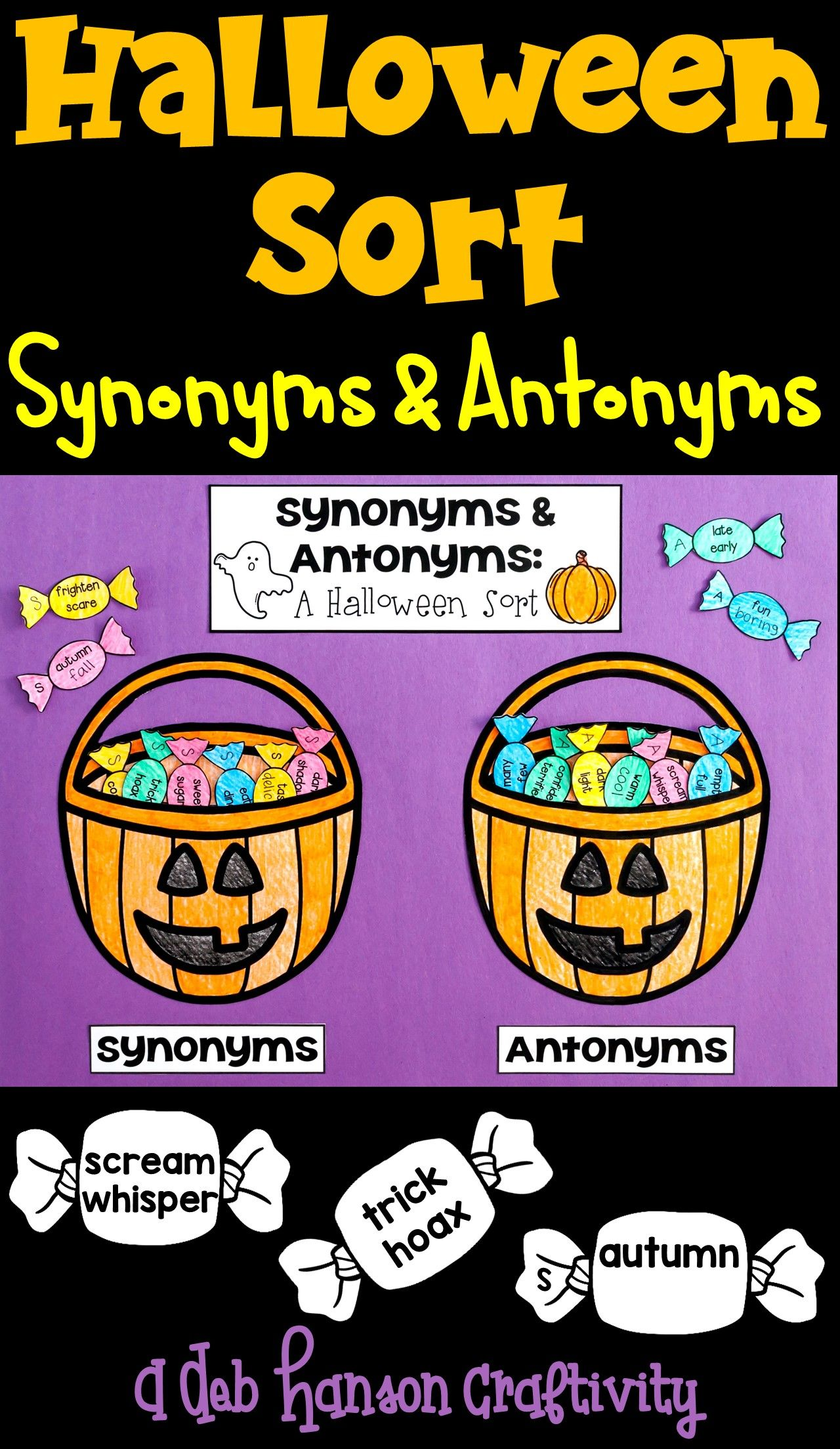 Synonym Antonym Halloween Sort Studentsyze Word