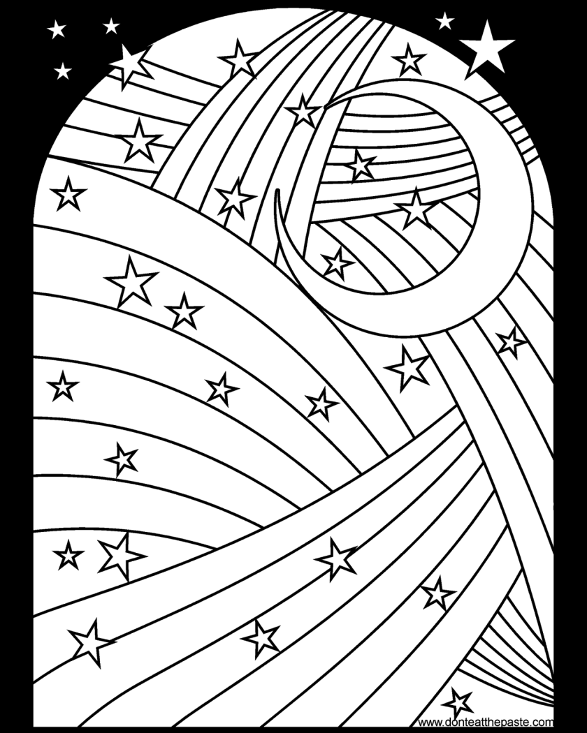 rainbow moon and stars coloring page available in jpg
