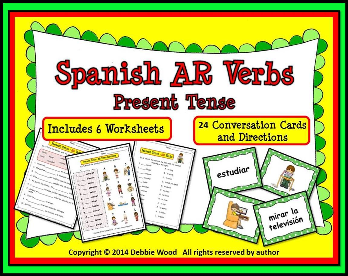 Spanish Ar Verbs Present Tense Includes 6 Worksheets And