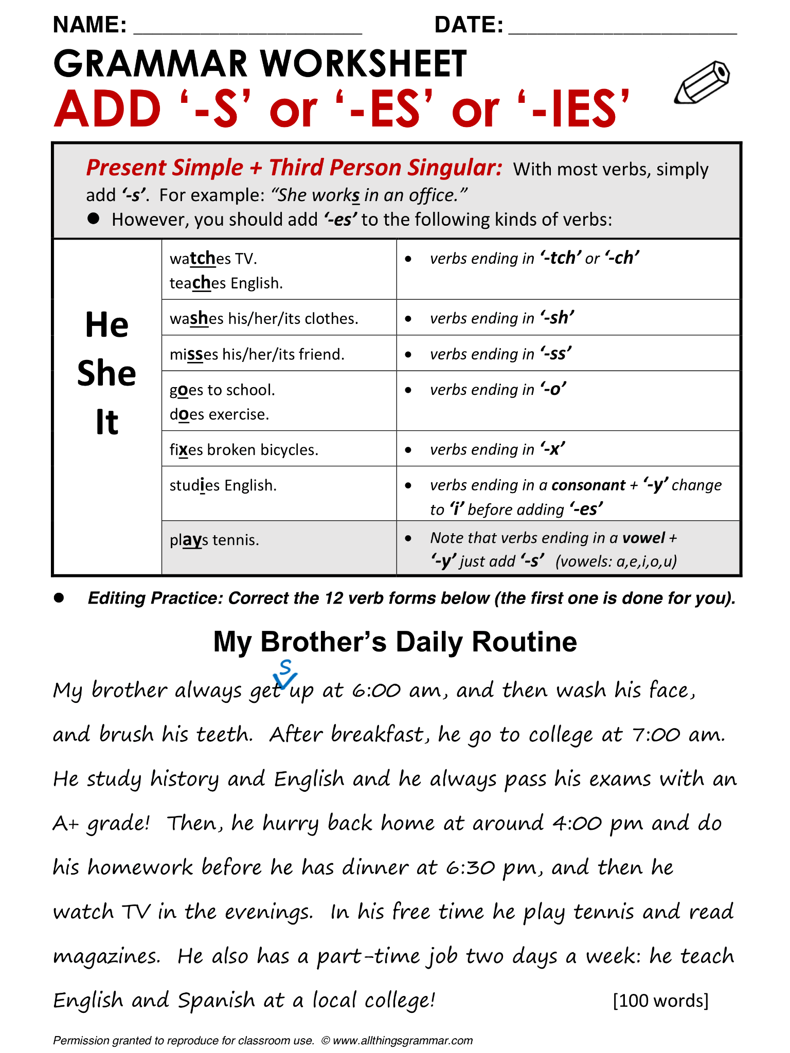 English Grammar Add S Or Es Or Ies Present Simple Third Person Singular Endings