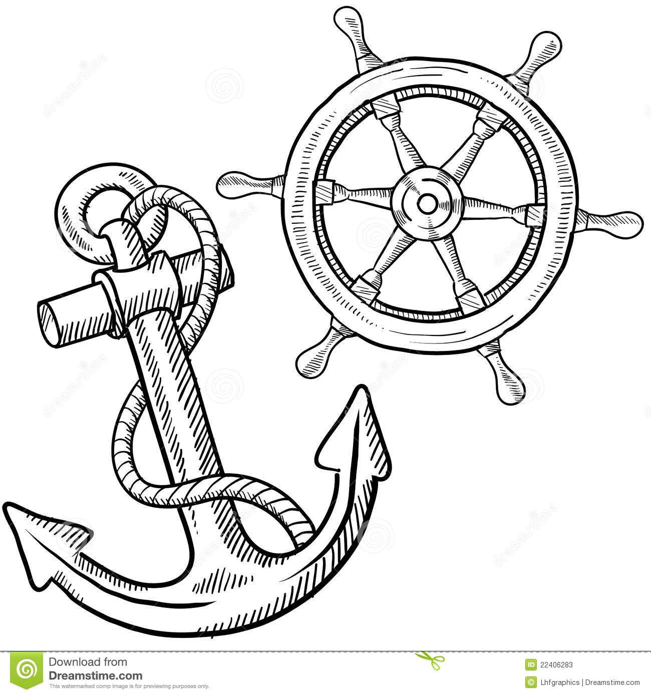 Doodle Style Ships Anchor And Wheel Illustration In Vector