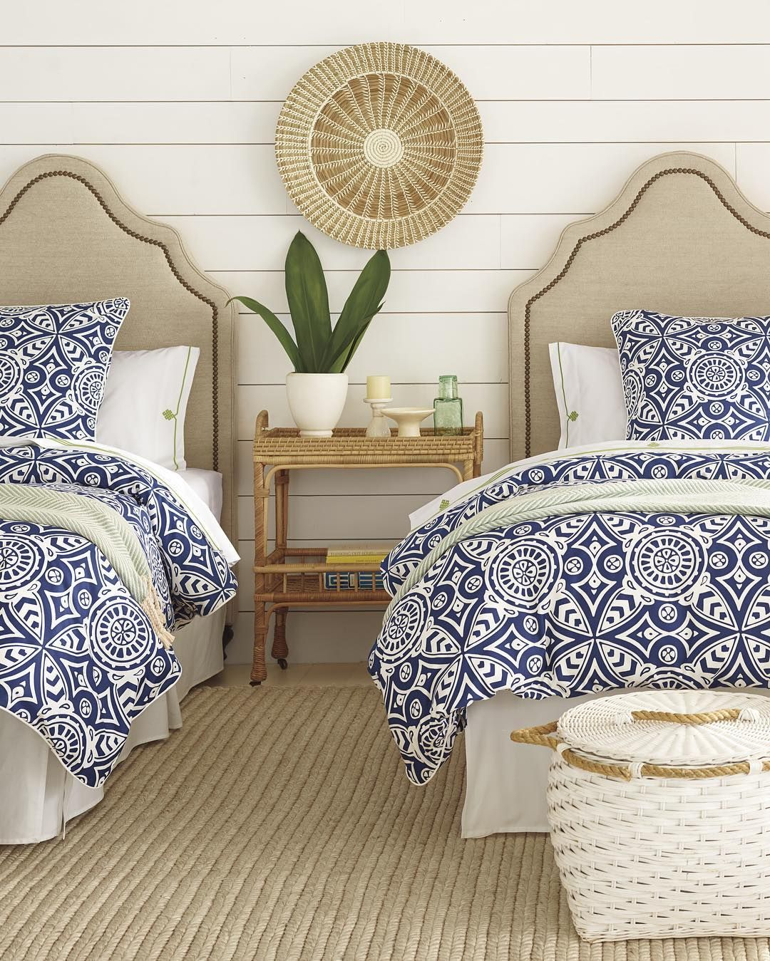 Blue And White Bedding With Sisal Rug Coastal Inspired