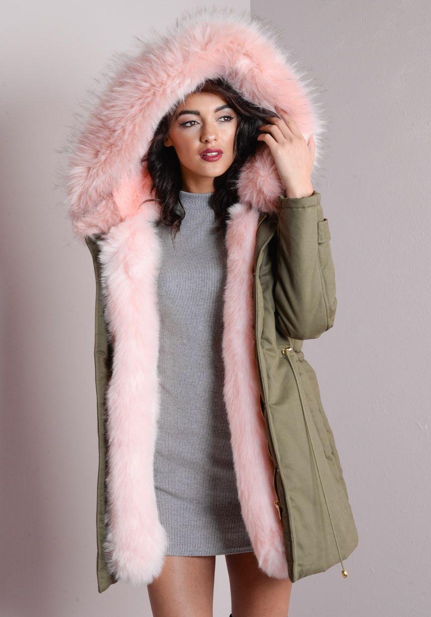 Pink Faux Fur Hooded Full Padded Parka Coat Khaki Green