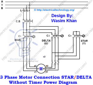 Three Phase Motor Connection STARDELTA Without Timer