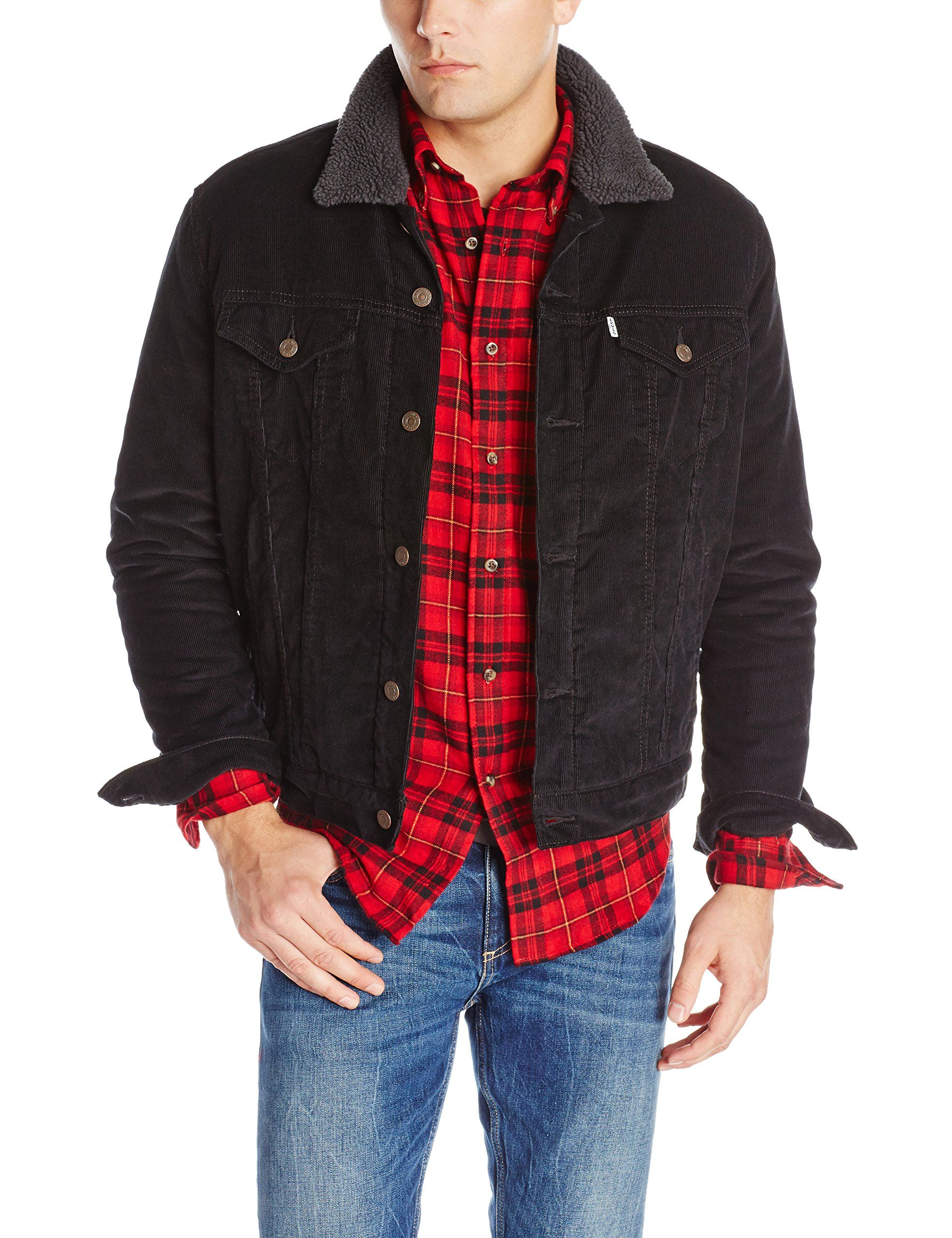 Levi's Men's Sherpa Trucker Jacket, Black Corduroy, X