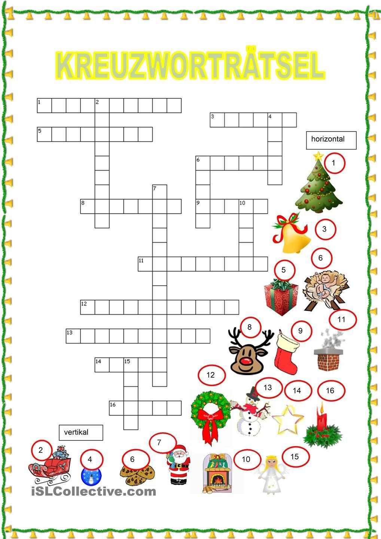 Kreuzwortra C Atsel Weihnachten Para Practicar Espanol