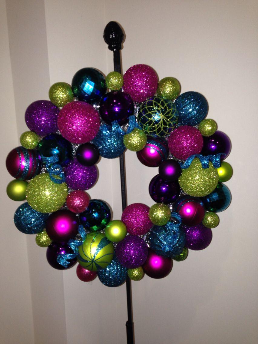 DIY ornament wreath hot glue gun, extra ornaments, tinsel