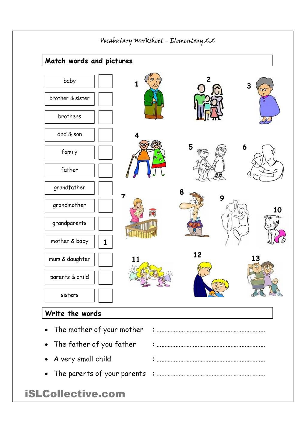 Vocabulary Matching Worksheet Elementary 2.2 (Family