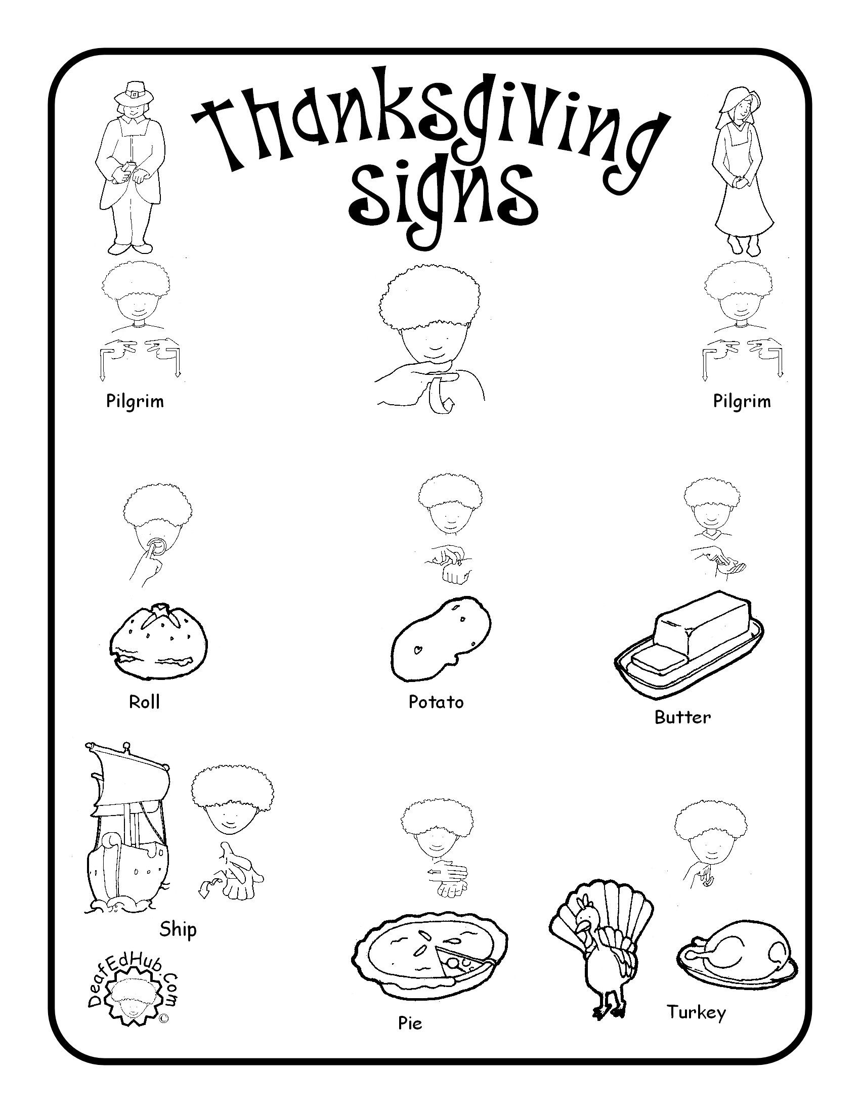 Thanksgiving Sign Language Words