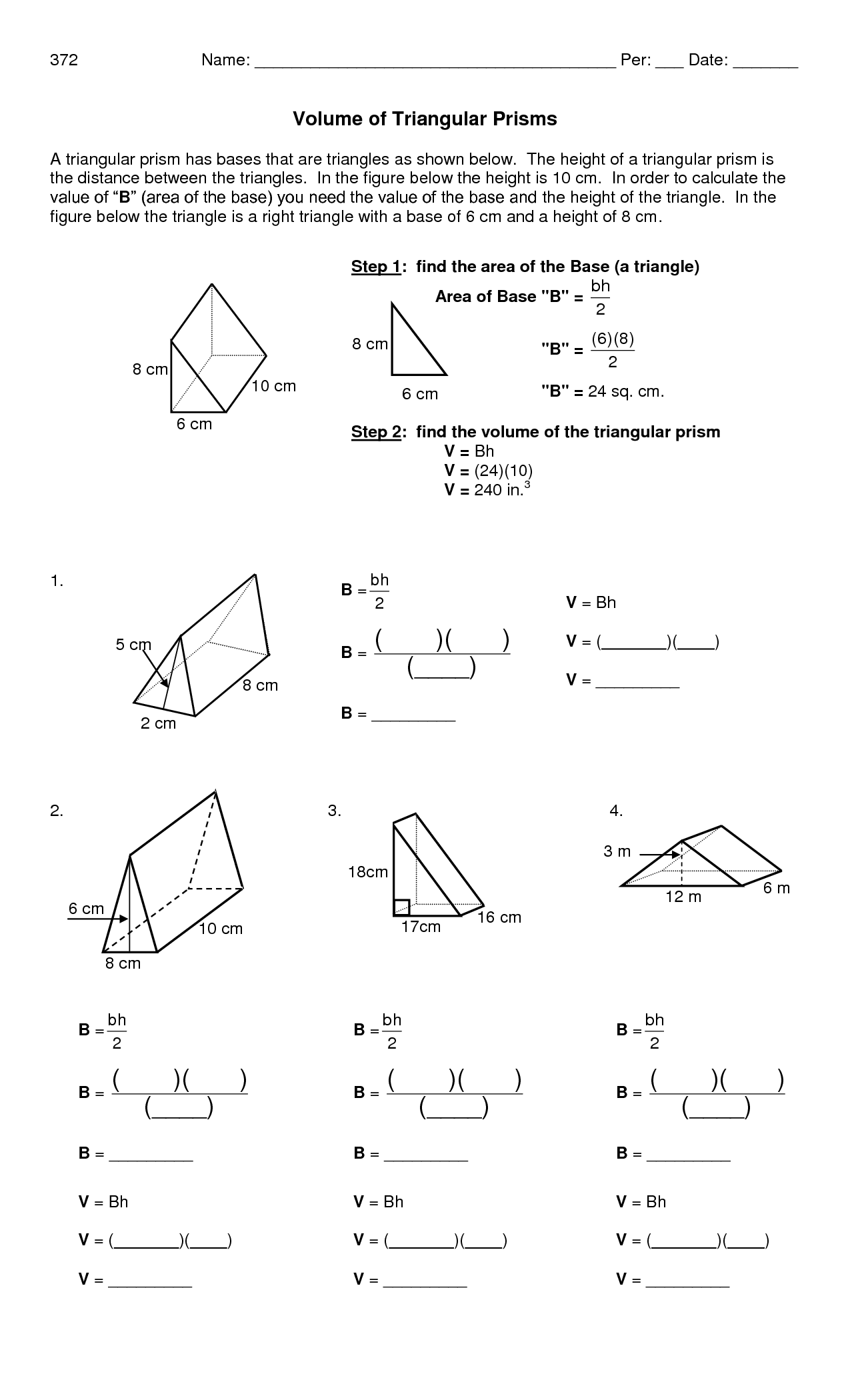 Printables Surface Area Triangular Prism Worksheet