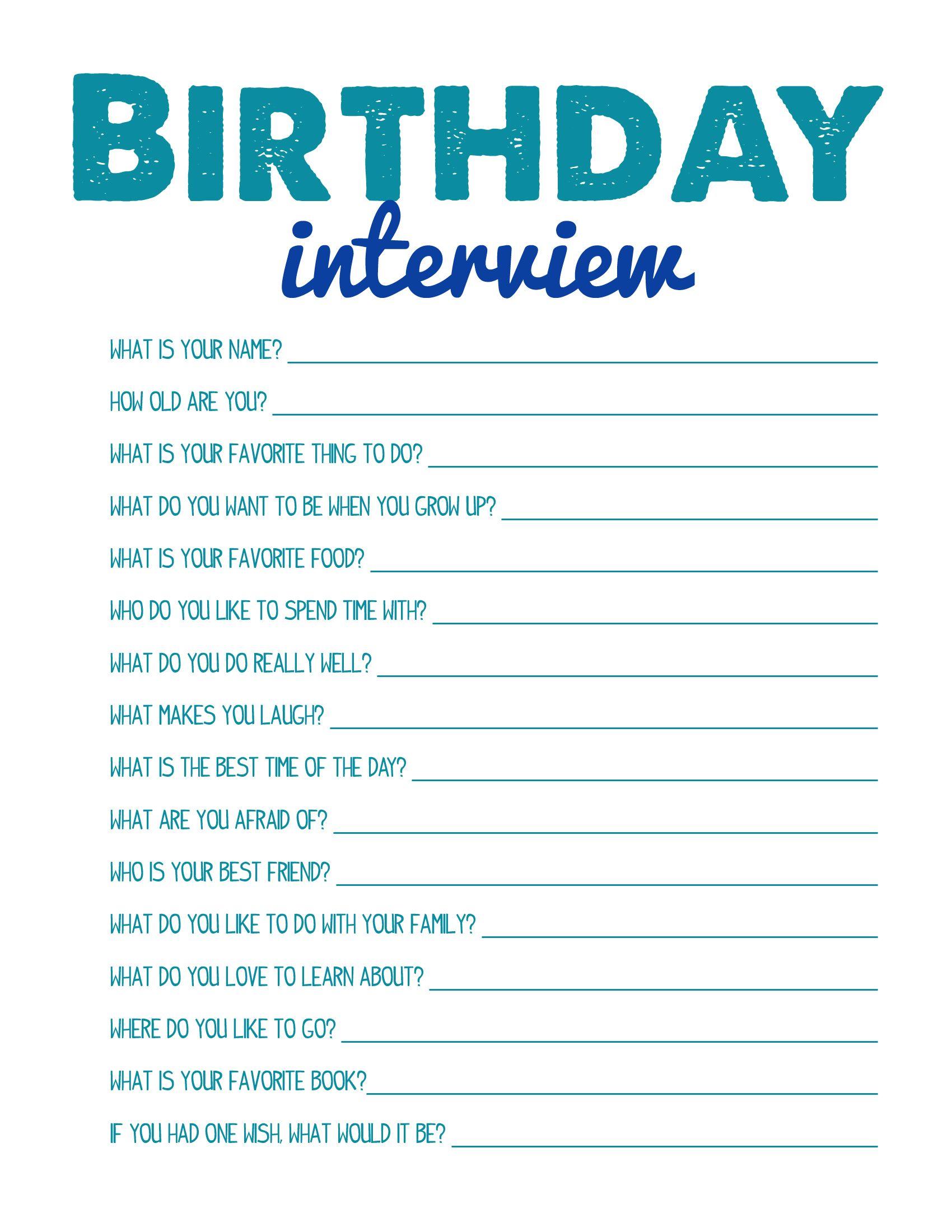 Birthday Interview Printable