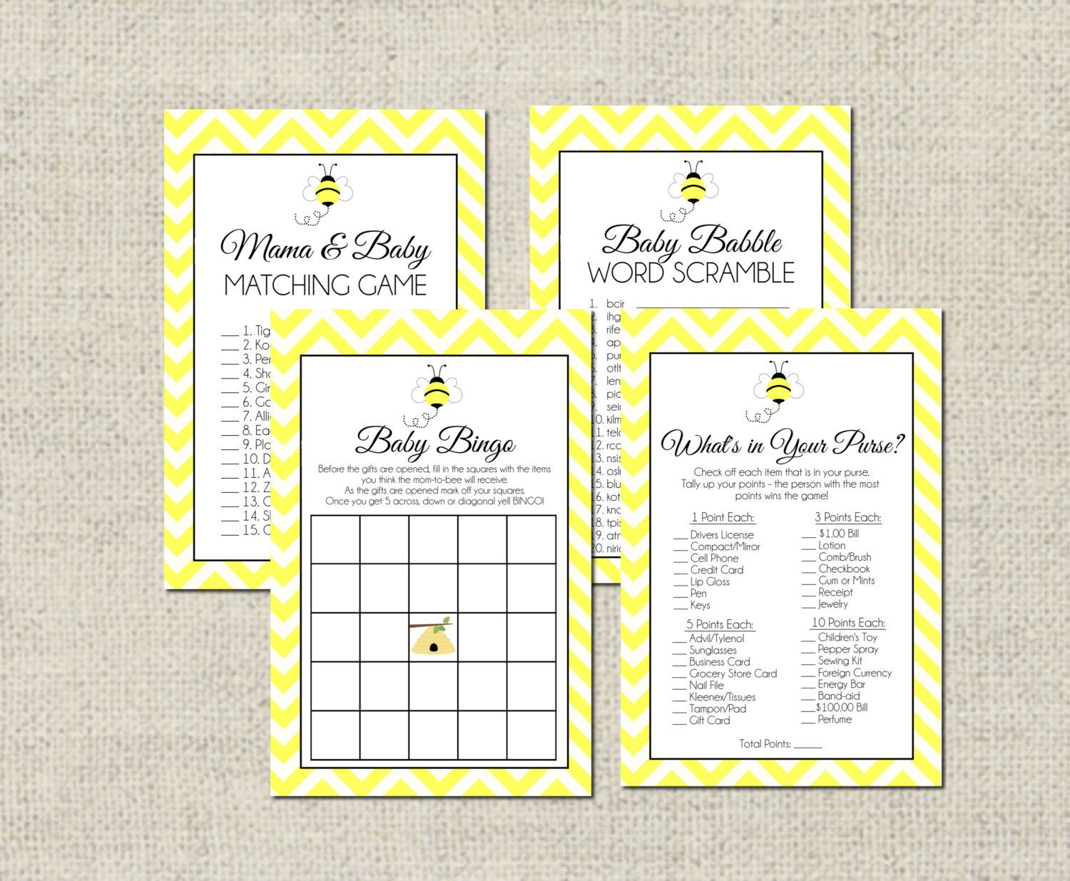 Bumble Bee Baby Shower Game Package By Geminicelebrations
