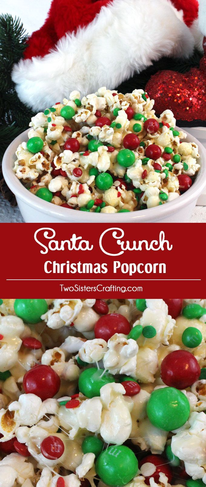 Santa Crunch Popcorn Christmas party food, Christmas