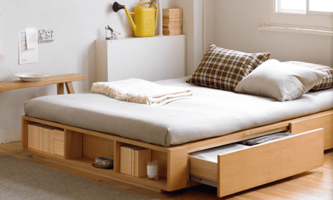 Large Double Light Ash Bed Frame With Drawersbed