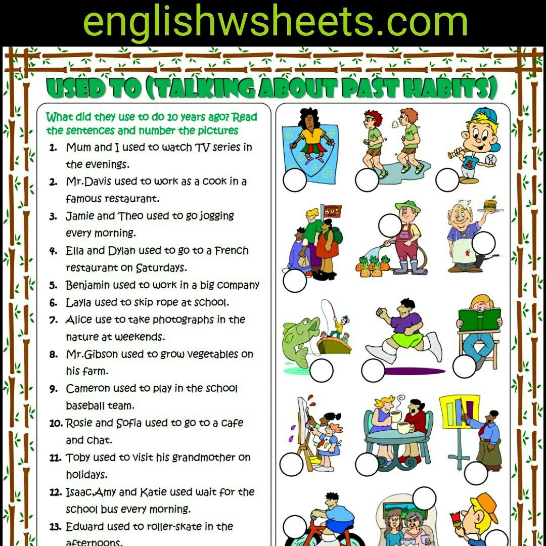 Used To Esl Printable Grammar Exercise Worksheet For Kids