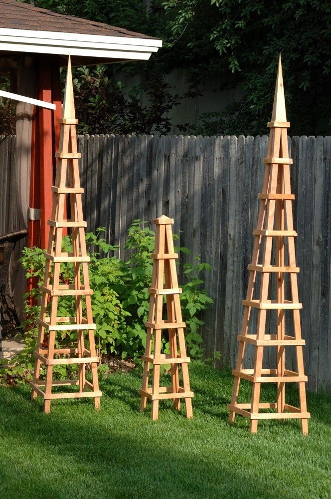 wooden trellis Wood Obelisk Garden Trellis. If I have a