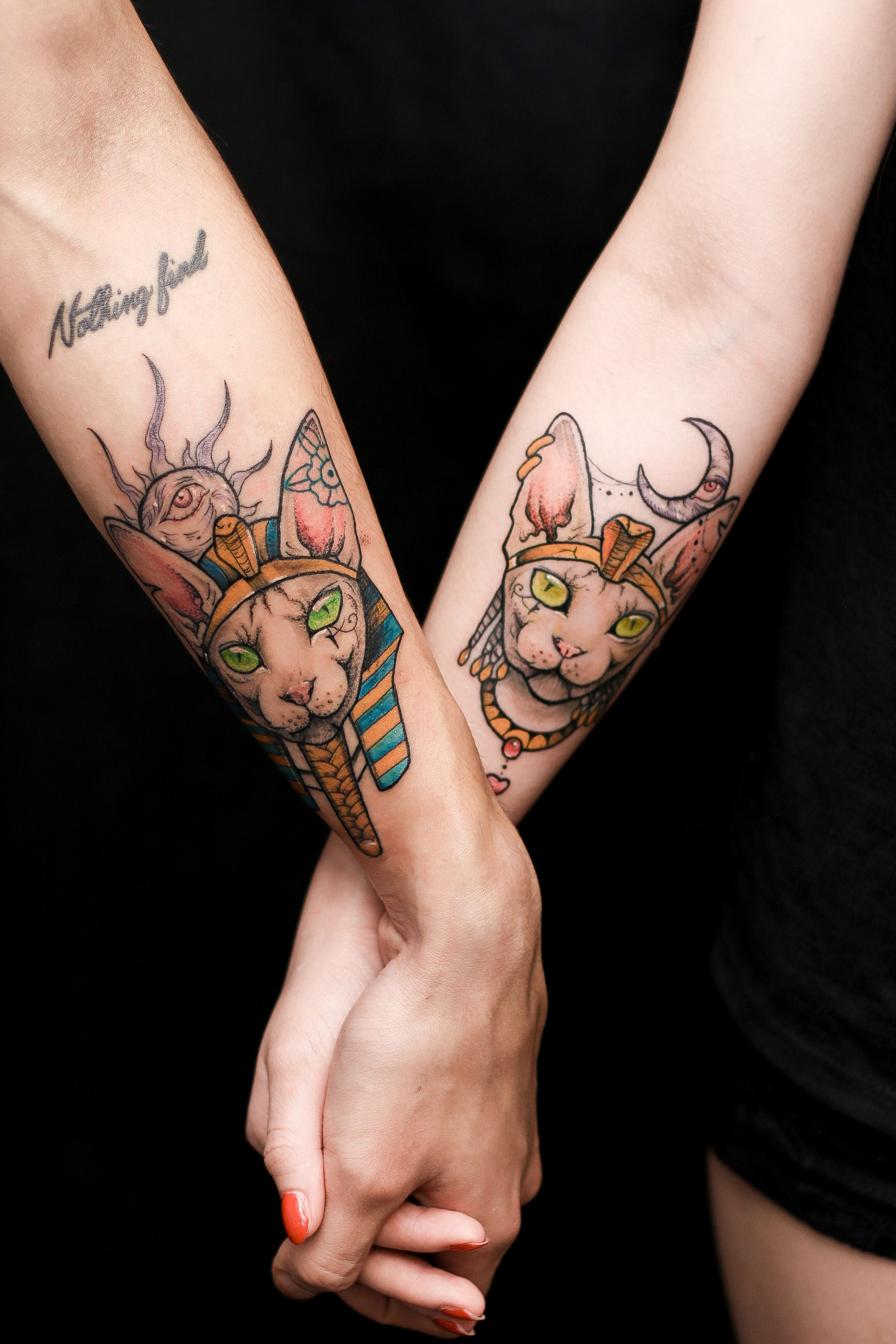 sphynx cat couple tattoo Pharaoh Cleopatra anzo choi My
