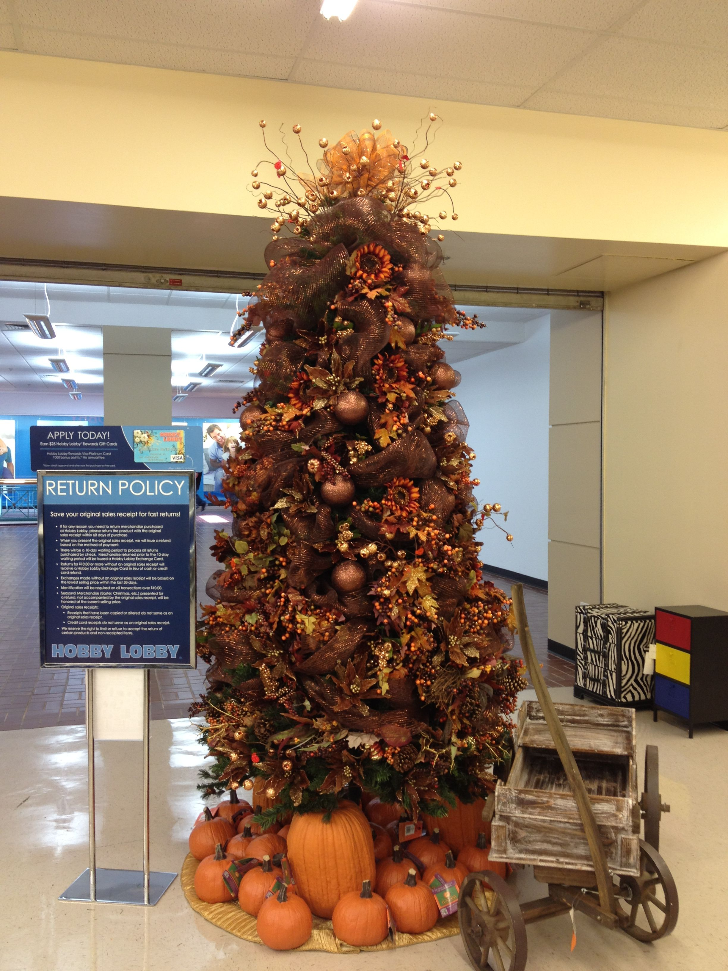 Beautiful Autumn tree that Hobby Lobby decorated at the