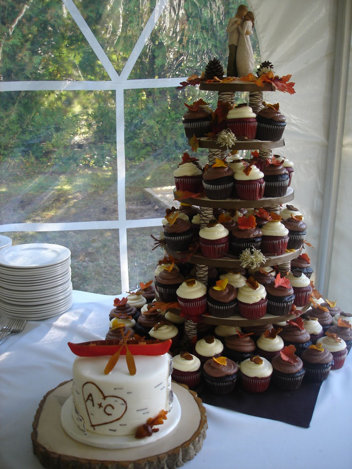 Fall wedding cupcakes, Love the little cake for the bride