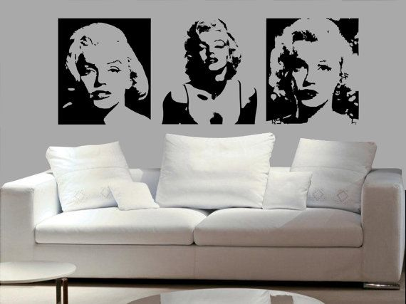 3set Of Marilyn Monroe Y Decal Living Room Bed Dining Wall Mural Home Decor Vinyl Sticker