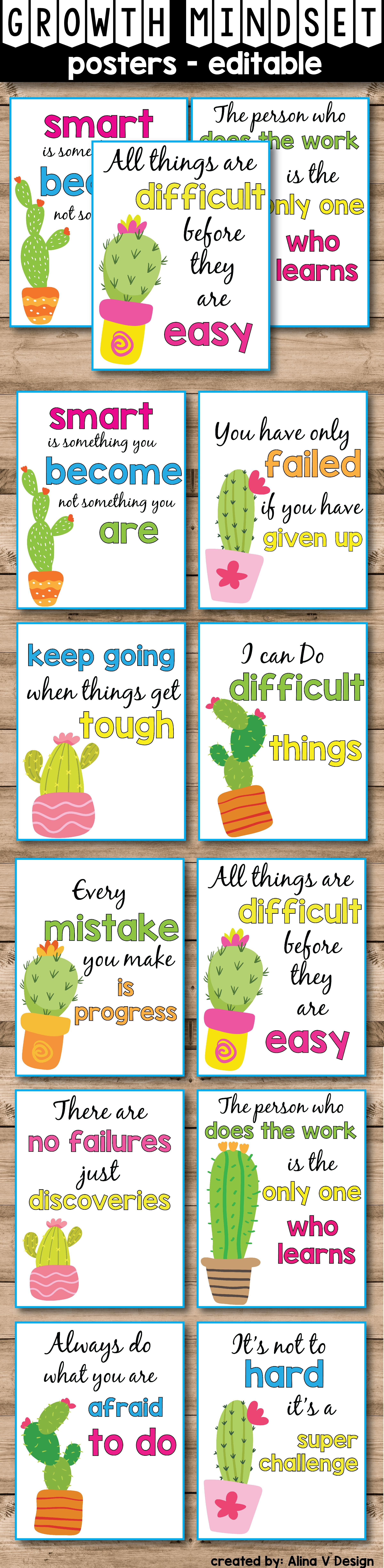 Succulent Classroom Decor Growth Mindset Posters Editable