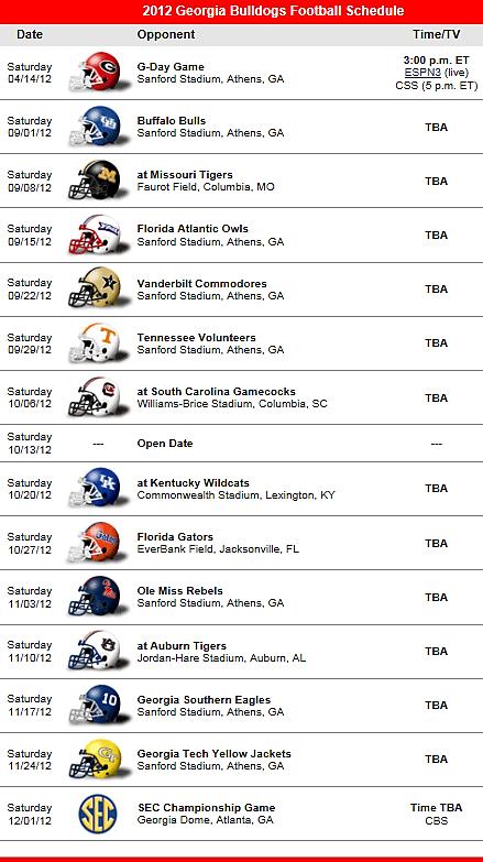 Bulldogs Football Team 2012 Schedule University