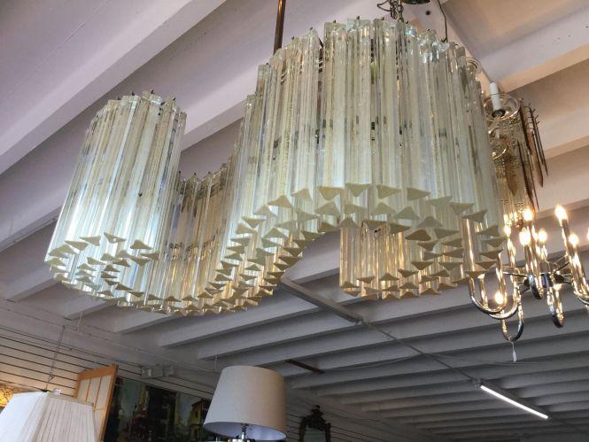 Fabulous Venini Murano Gold Dust Glass Pendant S Shape Chandelier