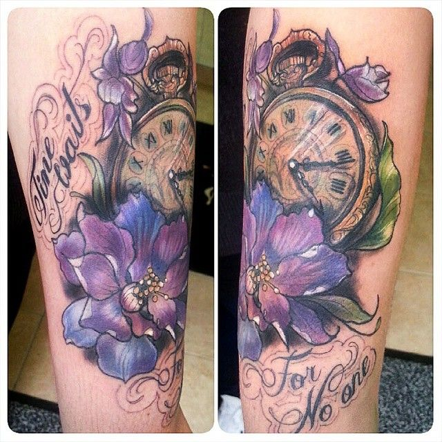"""Todays tattoo """"Time waits for no one"""" on the lovely"""