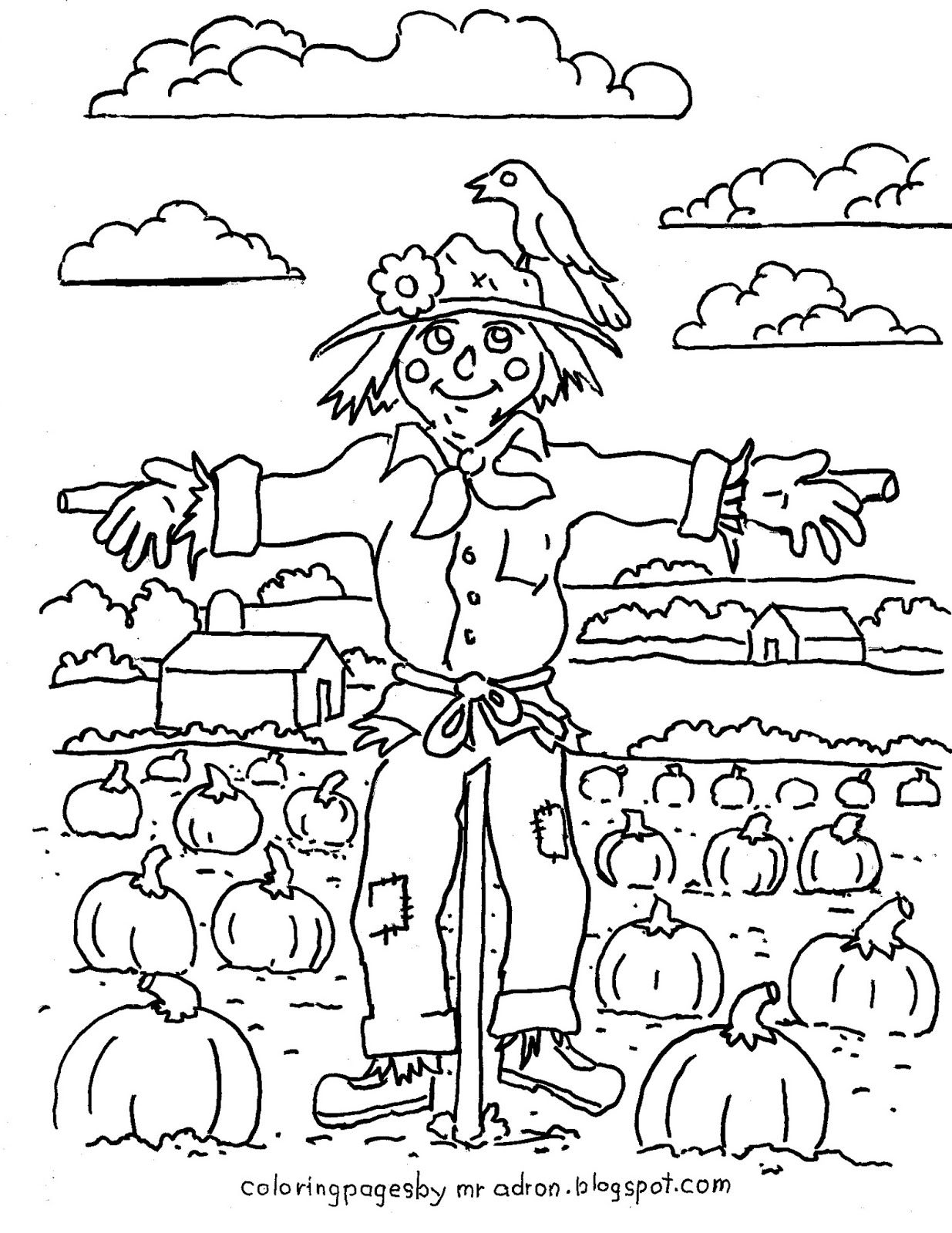 Coloring Pages For Kids By Mr Adron Printable Harvest Scarecrow Coloring Picture Print It And
