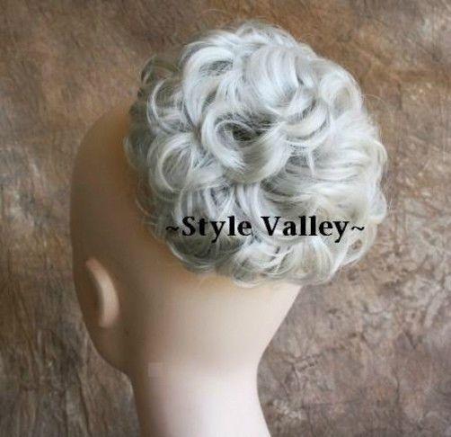 Silver White BUN Extension Hair Piece Curly Wedding Gray