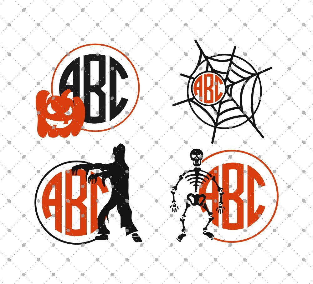 Halloween Monogram Frames SVG Cut Files for Cricut and