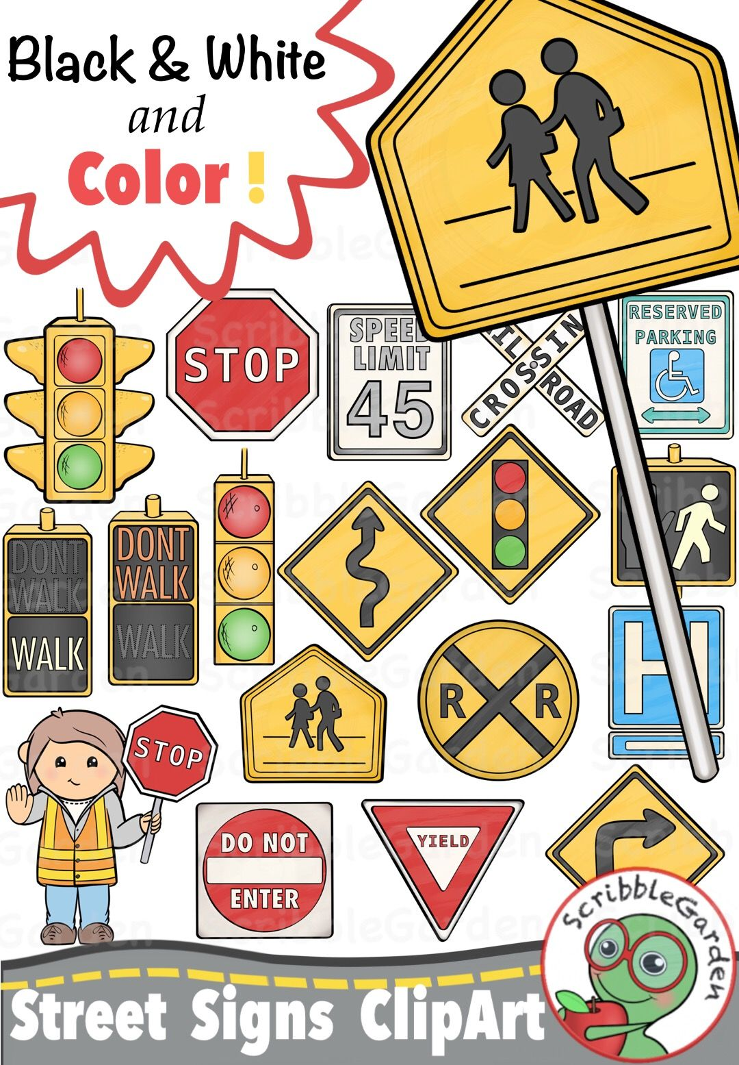 Road Safety Street Signs Clipart Pack By Scribblegarden
